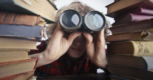 elderly woman with binoculars