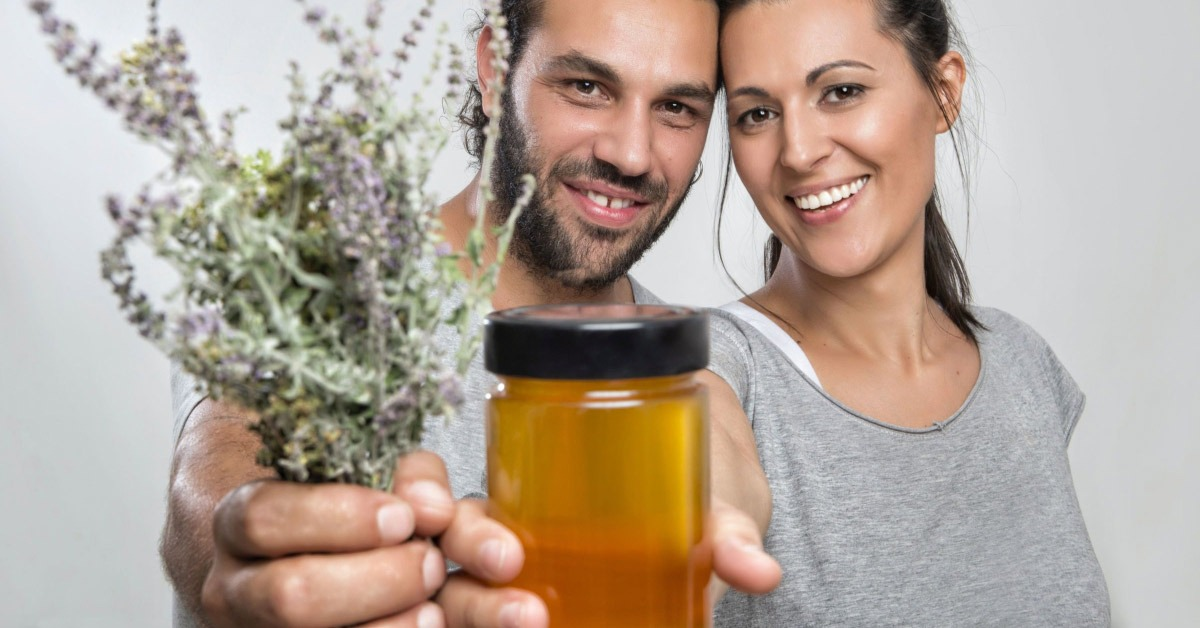 couple with honey and lavender